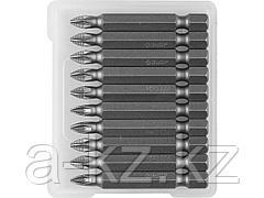 Биты для шуруповерта ЗУБР 26003-1-50-10, кованая, хромомолибденовая сталь, тип хвостовика E 1/4, PZ1, 50 мм, 10 шт.