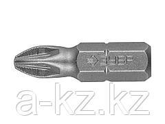 Биты для шуруповерта ЗУБР 26003-2-25-2, кованая, хромомолибденовая сталь, тип хвостовика C 1/4, PZ2, 25 мм, 2 шт.