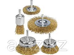 Набор щеток крацовок для дрели STAYER 35157-H5_z01, витая латунированная стальная проволока, 0,3 мм, дисковые 50, 75 мм, чашечные 50, 75 мм, кистевые
