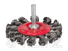 Щетка крацовка дисковая для дрели STAYER 35115-075_z01, плетёные пучки проволоки 0,5 мм, 75 мм