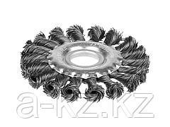 Щетка крацовка дисковая для УШМ STAYER 35120-100, плетенные пучки проволоки 0,5 мм, 100 мм / 22 мм