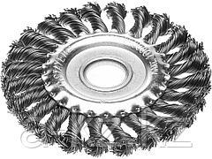 Щетка крацовка дисковая для УШМ STAYER 35120-175, плетенные пучки проволоки 0,5 мм, 175 мм / 22 мм
