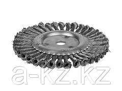 Щетка крацовка дисковая для УШМ STAYER 35120-200, плетенные пучки проволоки 0,5 мм, 200 мм / 22 мм