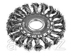 Щетка крацовка дисковая для УШМ DEXX 35100-100, жгутированные пучки стальной проволоки 0,5 мм, 100 мм / 22 мм