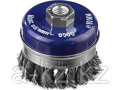 Щетка крацовка чашечная для УШМ DEXX 35106-080, с посадочным М14, усиленная, бандажное кольцо, жгутированные пучки стальной проволоки 0,5 мм, d=80 мм