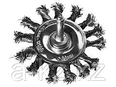 Щетка крацовка дисковая для дрели DEXX 35108-075, жгутированные пучки стальной проволоки 0,5 мм, d=75 мм