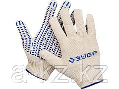 Перчатки ЗУБР ЭКСПЕРТ трикотажные, 12 класс, х/б, с защитой от скольжения, L-XL, 11451-XL