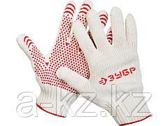 Перчатки ЗУБР МAСTEP трикотажные, 7 класс, х/б, с защитой от скольжения, S-M, 11456-S