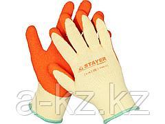 Перчатки STAYER EXPERT  рабочие с рельефным латексным покрытием, 10 класс, S-M, 11407-S