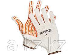 Перчатки STAYER EXPERT трикотажные с защитой от скольжения, 10 класс, х/б, L-XL, 11401-XL