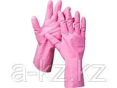 Перчатки хозяйственные латексные ЗУБР МАСТЕР, повышенной прочности, х/б напыление, рифлёные, 100% латекс, 100% хлопок, размер S, 11250-S