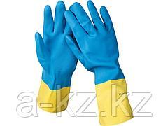 Перчатки хозяйственные латексные STAYER с неопреновым покрытием, экстрастойкие, с х/б напылением, размер XL, 11210-XL