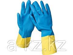 Перчатки хозяйственные латексные STAYER с неопреновым покрытием, экстрастойкие, с х/б напылением, размер L, 11210-L