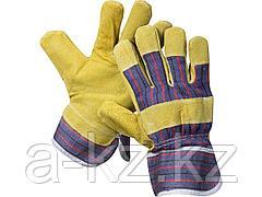 Перчатки STAYER MASTER рабочие комбинированные кожаные из спилка с тиснением, XL, 1131-XL
