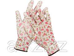 Перчатки садовые GRINDA, прозрачное PU покрытие, 13 класс вязки, бело-розовые, размер M, 11291-M