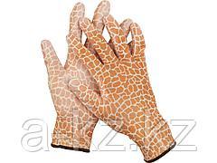 Перчатки садовые GRINDA, прозрачное PU покрытие, 13 класс вязки, коричневые, размер S, 11292-S