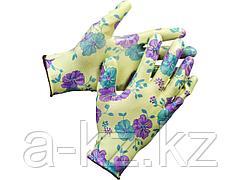 Перчатки садовые GRINDA, прозрачное нитриловое покрытие, размер S-M, зеленые
