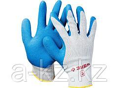 Перчатки ЗУБР ЭКСПЕРТ рабочие с резиновым рельефным покрытием, размер S, 11260-S