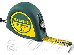 Рулетка измерительная KRAFTOOL 34022-03-16, GRAND, обрезиненный пластиковый корпус, 3 м х 16 мм