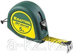 Рулетка измерительная KRAFTOOL 34022-05-19, GRAND, обрезиненный пластиковый корпус, 5 м х 19 мм