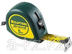 Рулетка измерительная KRAFTOOL 34022-05-25, GRAND, обрезиненный пластиковый корпус, 5 м х 25 мм