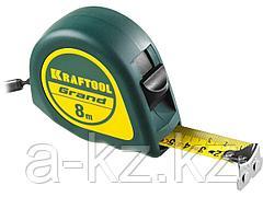 Рулетка измерительная KRAFTOOL 34022-08-25, GRAND, обрезиненный пластиковый корпус, 8 м х 25 мм