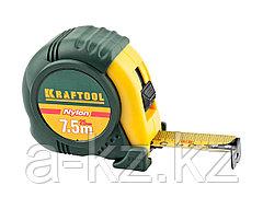 Рулетка измерительная KRAFTOOL 34122-08_z01, EXPERT, с нейлоновым покрытием, обрезиненный корпус, 7,5 м х 25 мм