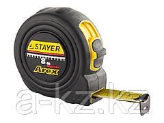 Рулетка измерительная STAYER 3410-08_z01, PROFI AREX, двухкомпонентный противоударный корпус, упрочненное полотно, 8 м х 25 мм