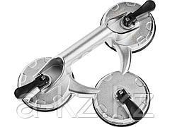 Стеклодомкрат ЗУБР 33723-3, ПРОФИ, вакуумные присоски для стекла, алюминиевый, профессиональный, тройной, 140кг