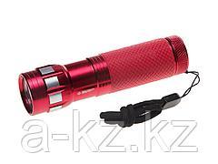 Фонарь ЗУБР МАСТЕР ручной, алюминиевый двукомпонентный корпус, 9 светодиодов, 3ААА, красный, 56211-R