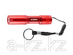 Фонарь ЗУБР МАСТЕР ручной, алюминиевый корпус, 1 сверхъяркий светодиод, 1АА, красный, 56220-R