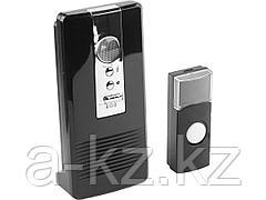 Звонок дверной беспроводной СВЕТОЗАР 58074, КАРАТ, электрический, 100 м, 36 полифонических мелодий, 3 режима индикации, программ.кнопка IP44, CR2032,
