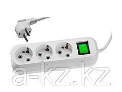 Удлинитель электрический СИБИН, ПВС сечение 0,75кв мм, 3 гнезда, макс. мощн. 2200Вт, 2м, заземление, выключатель 55036-2