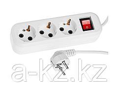 Удлинитель электрический СИБИН, ПВС сечение 0,75кв мм, 3 гнезда, макс. мощн. 2200Вт, 5м, заземление, выключатель 55036-5