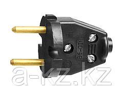 Вилка электрическая СИБИН 55152-B, разборная, 6 А / 220 В, черная