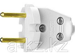 Вилка электрическая СИБИН 55152-W, разборная, 6 А / 220 В, белая