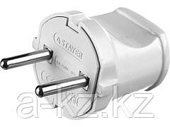 Вилка электрическая STAYER 55150-W, MASTER, 6 А / 220 В, белая