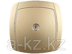 Розетка СВЕТОЗАР АКЦЕНТ телевизионная одинарная в сборе, цвет золотой металлик, SV-54215-GM