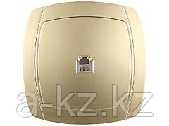Розетка СВЕТОЗАР АКЦЕНТ телефонная одинарная в сборе, цвет золотой металлик, SV-54217-GM