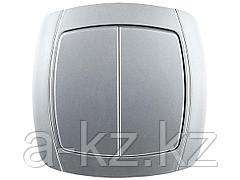 Выключатель СВЕТОЗАР АКЦЕНТ двухклавишный в сборе, цвет серебристый металлик, 10А/~250В, SV-54234-SM