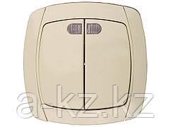 Выключатель СВЕТОЗАР CITY LIGHT двухклавишный в сборе, с подсветкой, бежевый, 10А/~250В, SV-54235-B