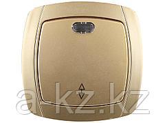 Выключатель СВЕТОЗАР АКЦЕНТ проходной одноклавишный в сборе, с подсветкой, цвет золотой металлик, 10А/~250В, SV-54238-GM