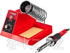 Паяльная станция ЗУБР 55332, МАСТЕР, аналоговая, диапазон 100 - 450 °C, с подставкой под паяльник, 2-х компонентная рукоятка, 48 Вт