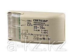 Трансформаторы для галогенных ламп СВЕТОЗАР, электронный, напряжением 12В, 1 вход/2 выхода с одной стороны, 20-70Вт, SV-44955