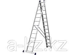 Лестница стремянка СИБИН 38833-13, универсальная, трехсекционная со стабилизатором, 13 ступеней