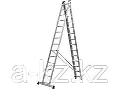 Лестница стремянка СИБИН 38833-14, универсальная, трехсекционная со стабилизатором, 14 ступеней