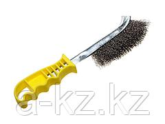Щетка STAYER MASTER стальная с пластмассовой ручкой, 1 ряд, 3509