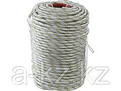 Фал плетёный капроновый СИБИН 50220-10, 24-прядный с капроновым сердечником, диаметр 10 мм, бухта 100 м, 1300 кгс