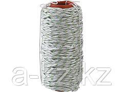 Фал плетёный капроновый СИБИН 50220-06, 16-прядный с капроновым сердечником, диаметр 6 мм, бухта 100 м, 650 кгс