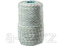 Фал плетёный капроновый СИБИН 50220-08, 16-прядный с капроновым сердечником, диаметр 8 мм, бухта 100 м, 1000 кгс